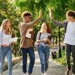 college students walking around campus