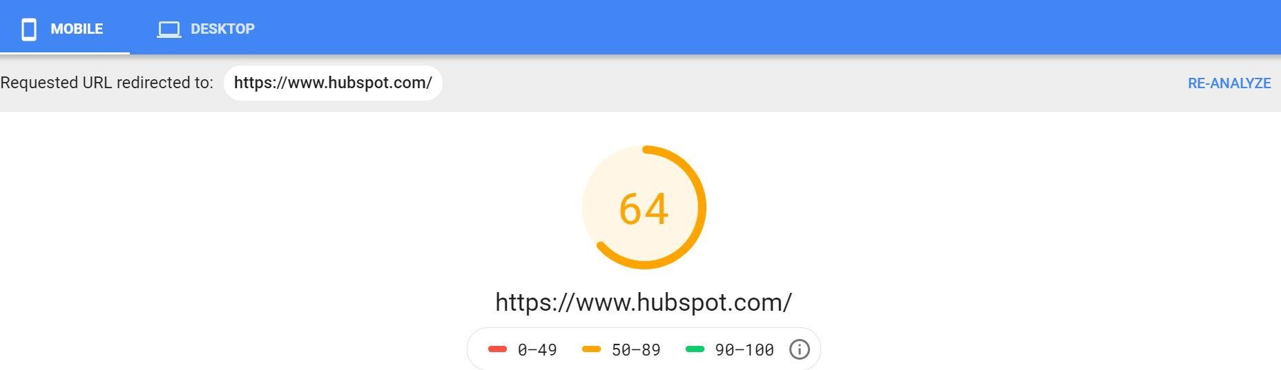 screenshot of Hubspot's page speed insight